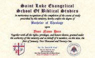 Bachelor of Theology I.D. Card