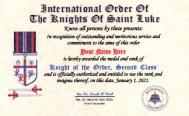 Knight of the Order, Second Class I.D. Card