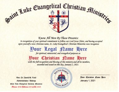 Your New Christian Name Certificate